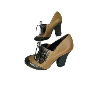 BCBG Maxazria Chunky Heel Lace Up Oxford Booties 9